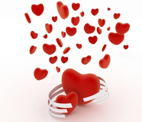 Symbols of valentines day.  Hearts on  white background