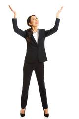 Businesswoman holding copyspace