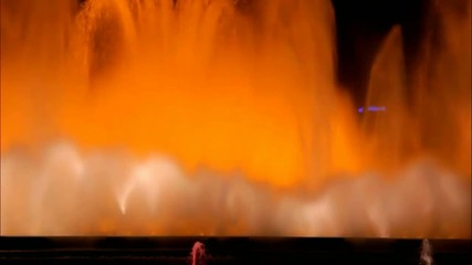 Famous Magic Fountain at the National Palace in Barcelona