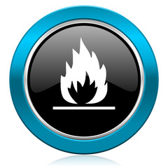 flame glossy icon