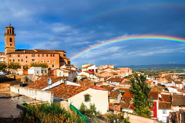 Aerial view of Calahorra with a rainbow