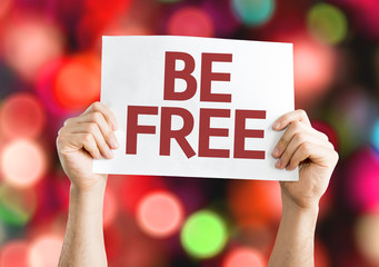Be Free card with colorful background