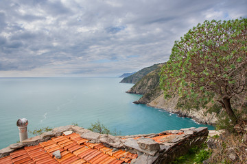 roof of a little house in cinque terre