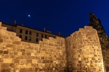 Night view of Roman walls in Zaragoza