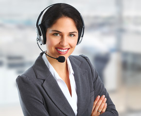 Woman with headsets