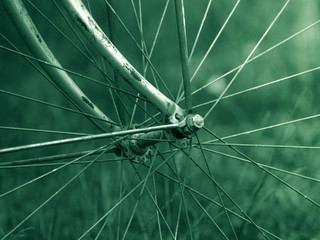 old bicycle wheel vintage background
