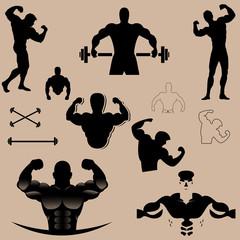 bodybuilder vector design collection black