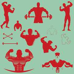 bodybuilder vector design collection red
