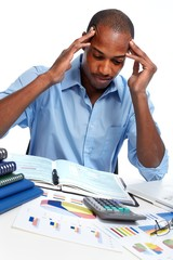African-American businessman having stress.