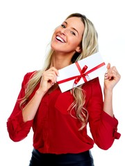 Happy Woman with  envelope gift.