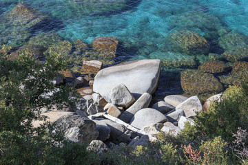 Rocks in the Turquoise Lake