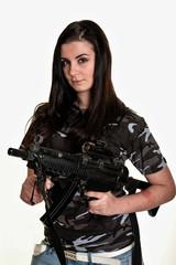 beautiful female soldier