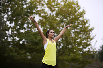 Woman exercising at the park