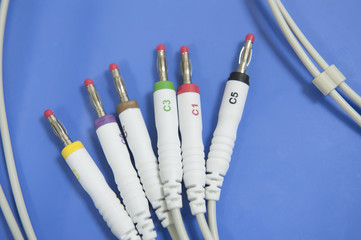 Electrode jack plugs of an ECG machine