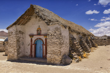 Beautiful Parinacota village church exterior circa Putre, Chile.