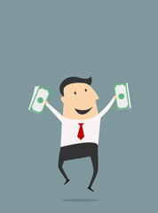 Businessman jumping with dollars