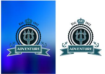 Nautical heraldic emblem with trident