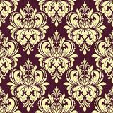 Purple and yellow floral damask seamless pattern