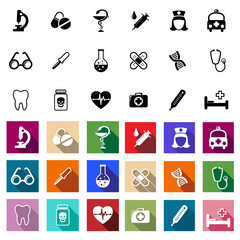 Black and coloured flat medical icons