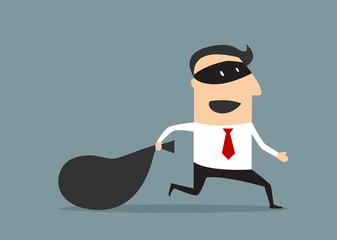 Thief businessman carrying money bag