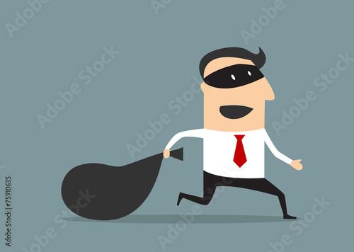 Thief businessman carrying money bag - 75910635