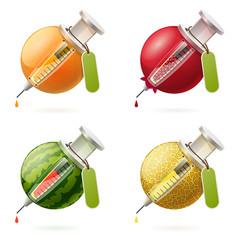 Stylized fruits and syringes