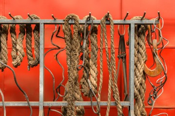 Old ropes closeup photo
