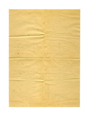 Old  ancient crumpled paper isolated on white background