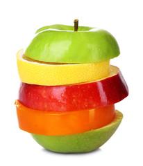 Fresh sliced fruit isolated on white