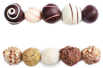 Chocolate truffles lines isolated on white background