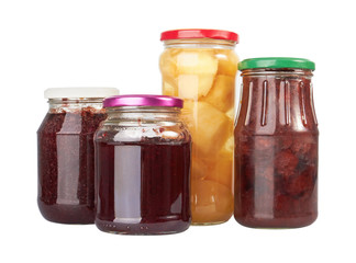 Jars with canned fruits
