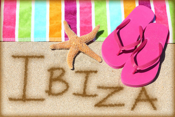 Ibiza beach travel concept