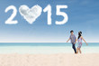 Couple enjoy a new year holiday at beach