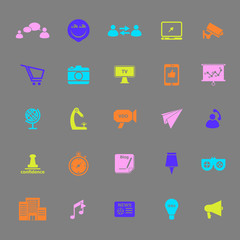 Media marketing color icons on gray background