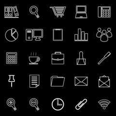 Office line icon on black background