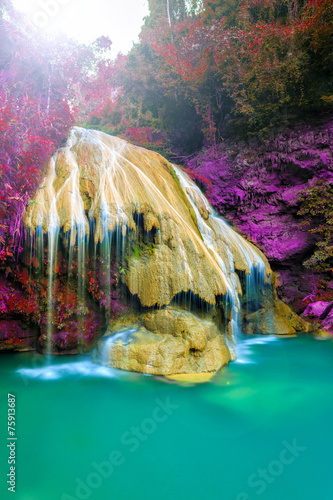 wonderful waterfall with colorful tree in thailand - 75913687