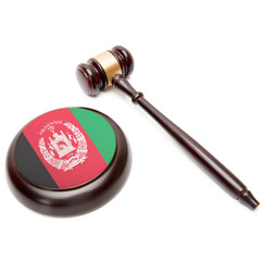 Judge gavel and soundboard with flag on it - Afghanistan