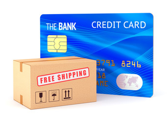 Cardboard box and credit card
