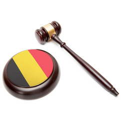 Judge gavel and soundboard with national flag on it - Belgium