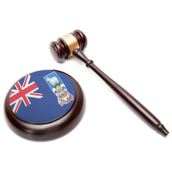 Judge gavel and soundboard with flag on it - Falkland Islands