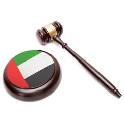 Judge gavel and soundboard with flag - United Arab Emirates
