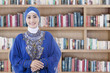 Muslim student in the library