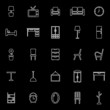 Furniture line icons on black background
