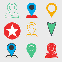 Distance Maker Location Direction Icon Vector Concept