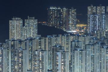 modern buildings in Hong Kong at night