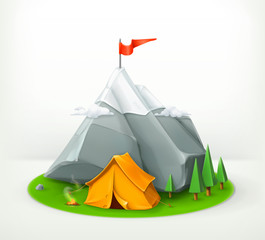 A journey to the mountains, vector icon