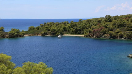 Picturesque bay and turtle island in Aegean Sea.
