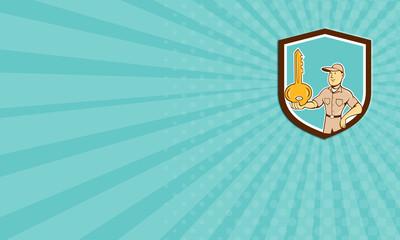 Business card Locksmith Balancing Key Palm Shield Cartoon