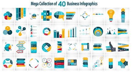 Collection of 40 Infographic Templates for Business Vector Illus
