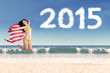 Woman with american flag in new year holiday